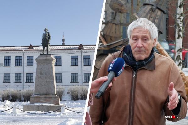 Один из гармоничных памятников, по мнению Юрия Барашкова, посвящен Петру Первому. Он стоит в Петровском сквере