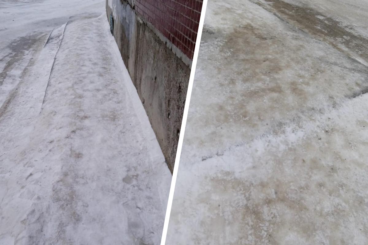 Такая корка льда появилась около дома на Обской