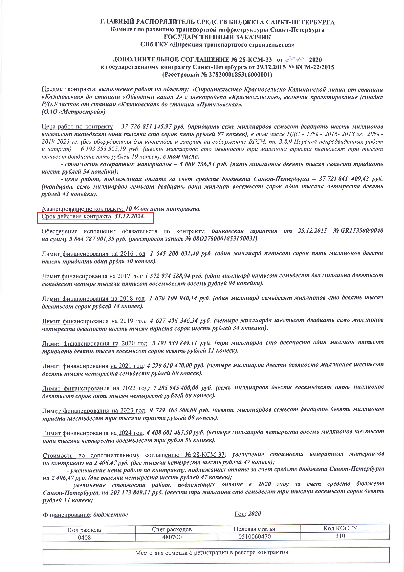 Допсоглашения к контрактам на строительство оранжевой и коричневой линий метро