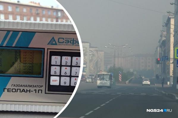 Слева — прибор для измерения загрязнений воздуха, справа — обычный летний день в Норильске