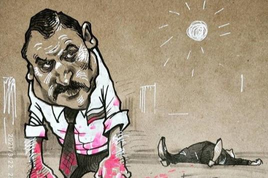 В карикатуре художник подчеркнул, что убийство случилось средь бела дня