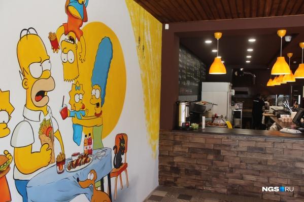 Граффити с Симпсонами на стене Grill House