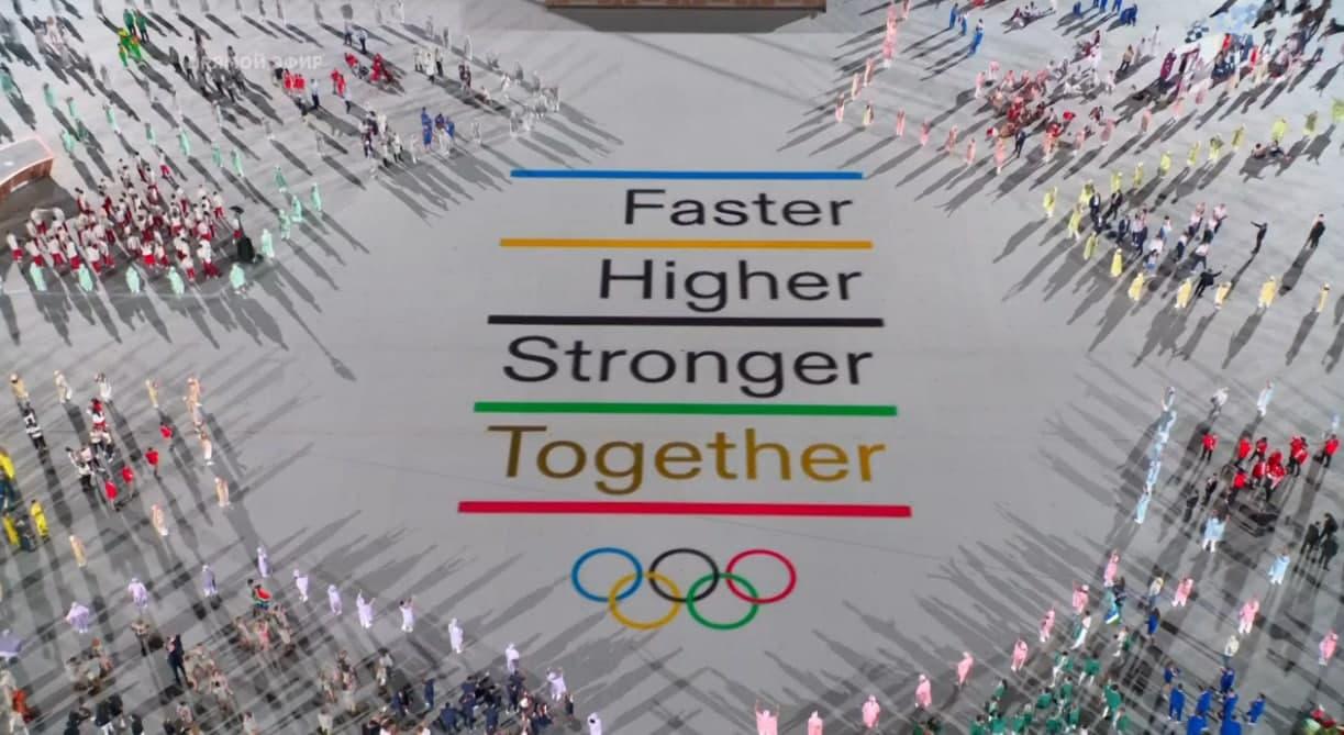 «Быстрее, выше, сильнее, вместе» — вот что означает эта надпись