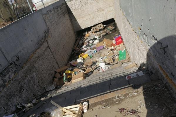 Кроме воды, в переходе было немало мусора