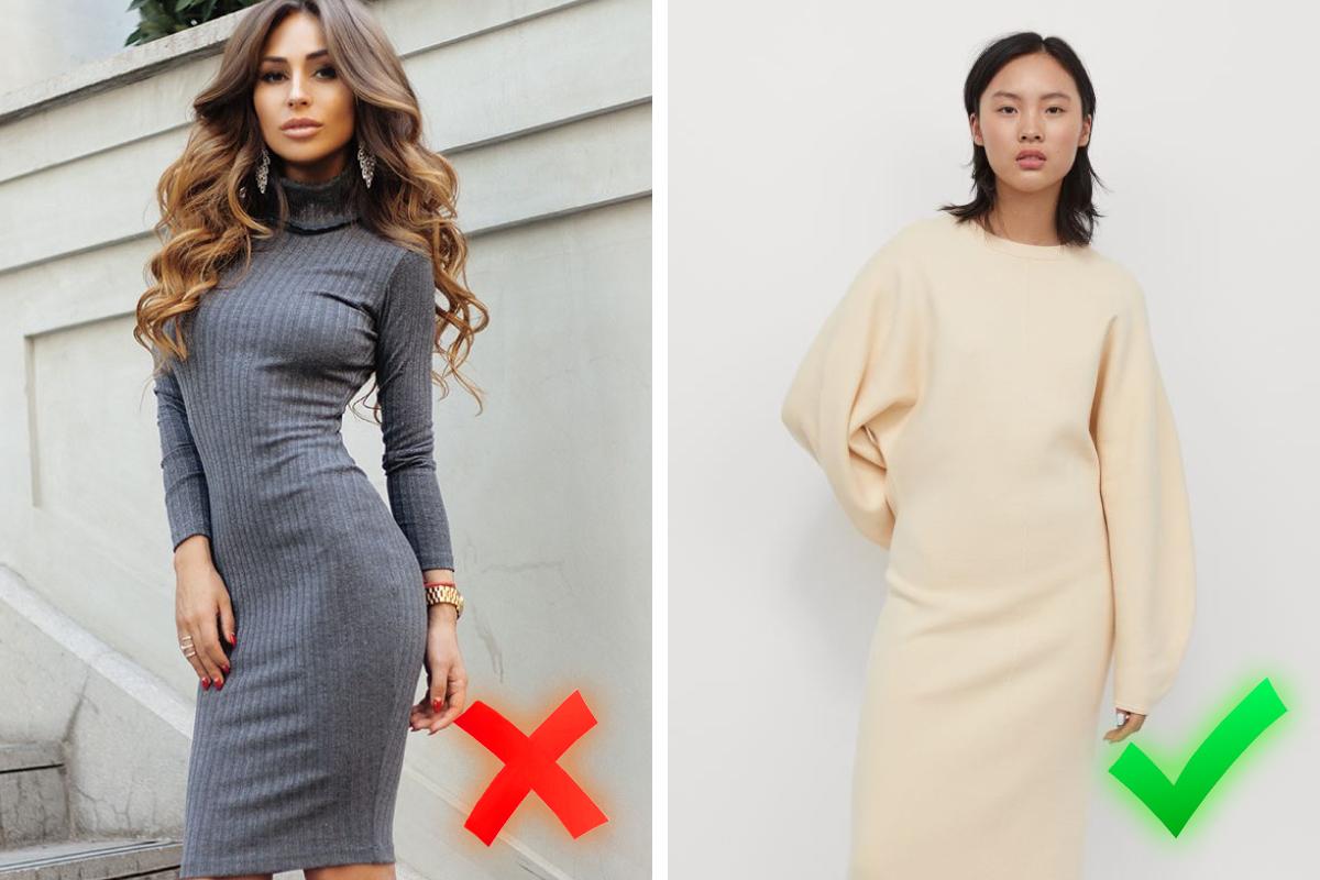 Не стоит стремиться показать всё лучшее сразу — отдайте предпочтение более свободным моделям, если всё же захотелось надеть платье-футляр