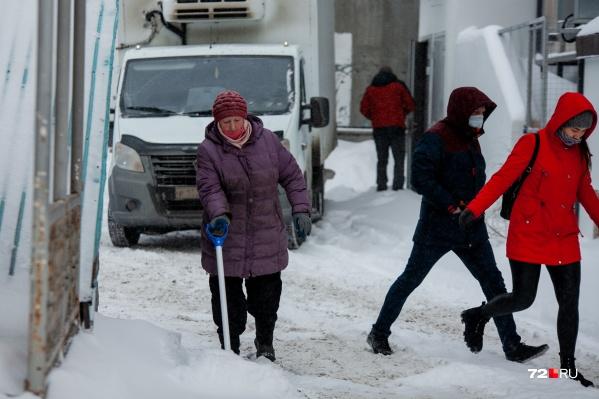 Даже пожилая дама вышла на тропу войны со снегом