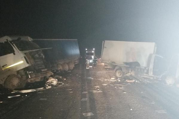 Авария с фурой и грузовиком произошла поздним вечером на трассе «Иртыш»