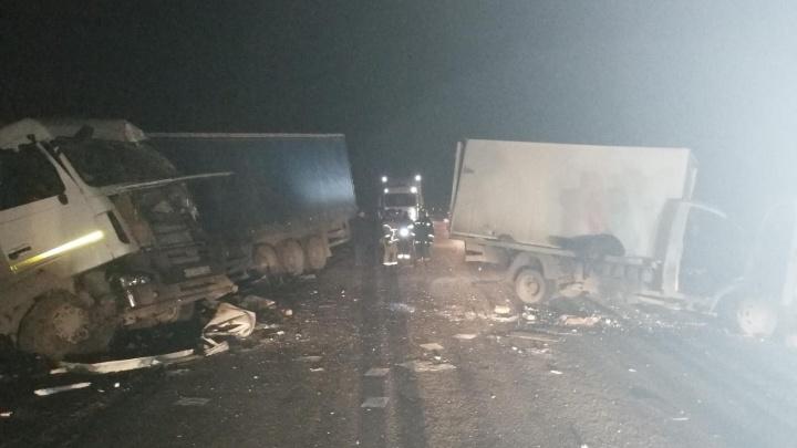 На трассе в Курганской области грузовик врезался в фуру
