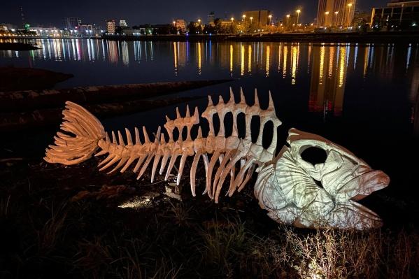 Муляж скелета на дне главного водоема Екатеринбурга напоминает о том, как много в мире муляжей