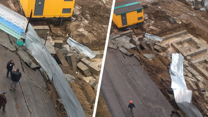 «Неверно произвели расчеты»: в Новосибирске на стройке стена из блоков съехала вместе с размытой дорогой