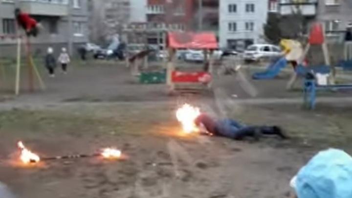 В Челябинской области загорелся артист, проводивший фаер-шоу наулице