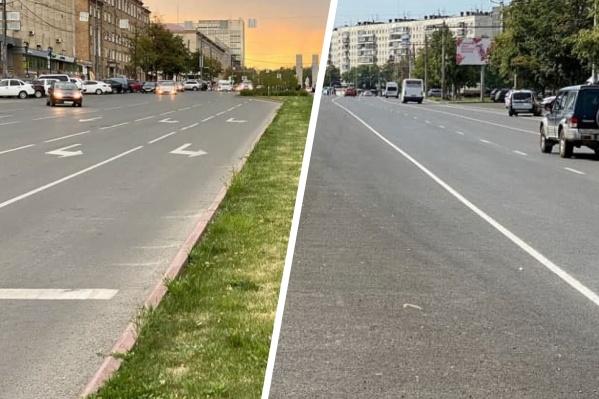 Сравните зеленую разделительную полосу на проспекте Ленина с асфальтовой на Комсомольском проспекте
