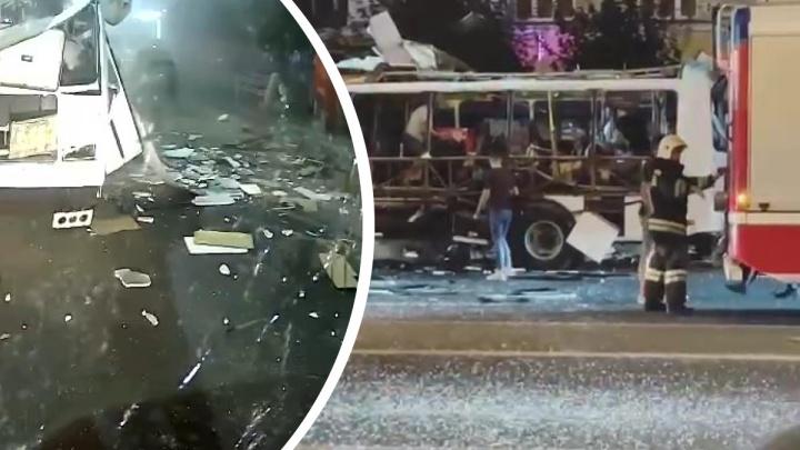 Момент взрыва автобуса в Воронеже попал на видео, число пострадавших выросло до 18