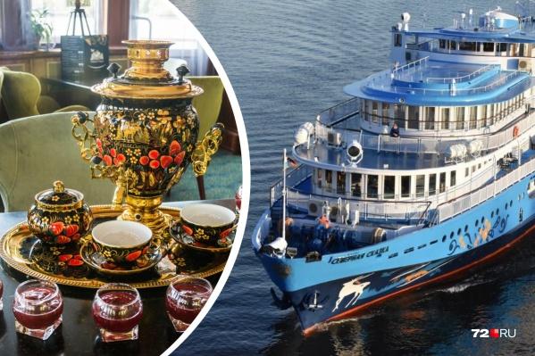 """Теплоход «Северная сказка» — это камерное судно, принимающее на борт не более <nobr class=""""_"""">140 гостей</nobr>. На борту есть чайная, панорамный ресторан, концертный зал и даже пункт проката спортинвентаря"""