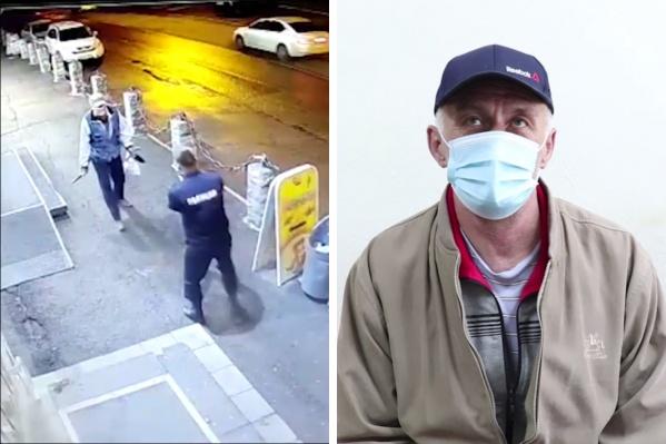 Слева — мужчину задерживают. Справа — он отвечает на вопросы полиции