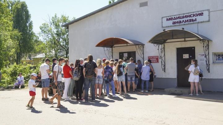 «Пришли сюда в 06:30»: в Ярославле у COVID-лаборатории выстроилась очередь за ПЦР-тестами. Видео