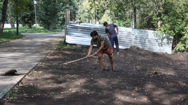 Сроки горят: в парке у Дворца молодежи не хватает рабочих рук, чтобы сдать его к середине сентября