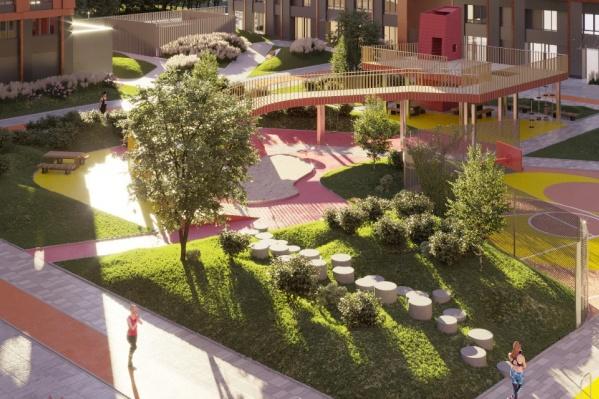Территория нового жилого комплекса выглядит очень футуристично