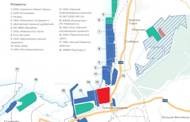 Красный квадрат — терминал «ЮГ-2»