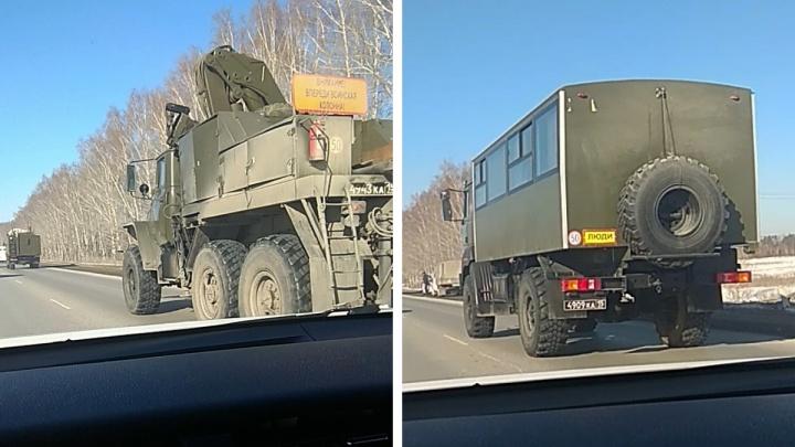 По Тюменскому тракту в Екатеринбург заехала колонна военных автомобилей. Объясняем, что происходит