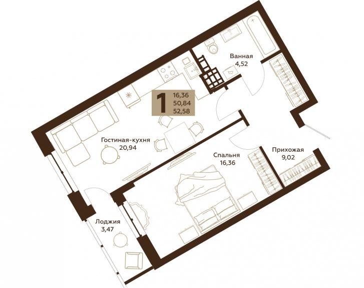 Во всех квартирах есть ниши для вместительных шкафов или гардеробных