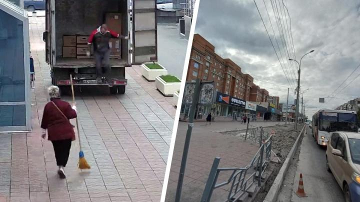 Из-за сноса парковки на Вокзальной магистрали вспыхнул конфликт — водителя «Газели» прогнали метлой