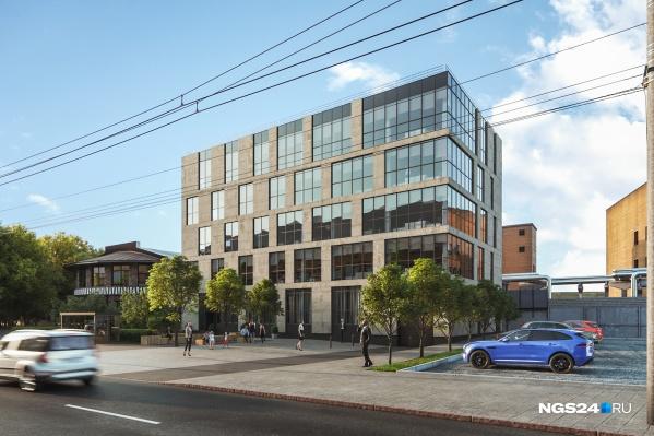Здание будет иметь, согласно эскизу, 5 наземных этажей и один цокольный