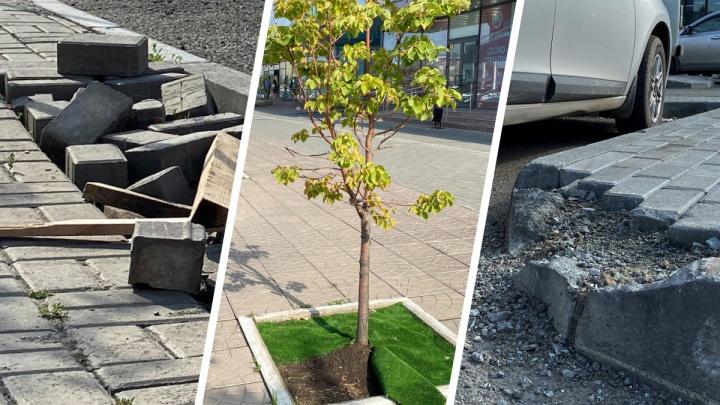 Сломанные бордюры и коврики вместо газонов: благоустройство около МФЦ в Челябинске не продержалось и года