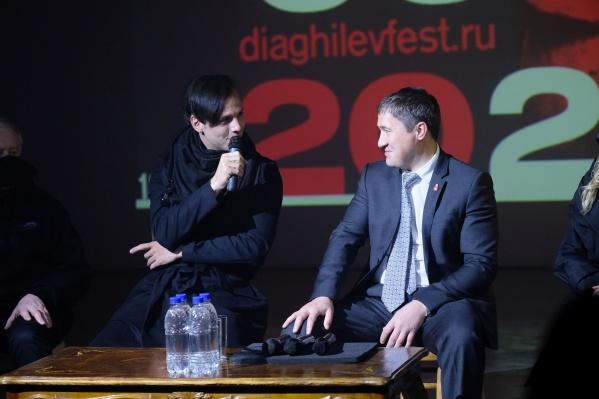 Теодор Курентзис и Дмитрий Махонин на встрече с журналистами и зрителями