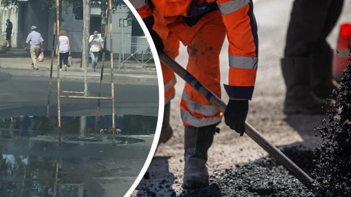 На Блюхера вода не попадает в ливневку после ремонта, за который заплатили больше 28 млн рублей