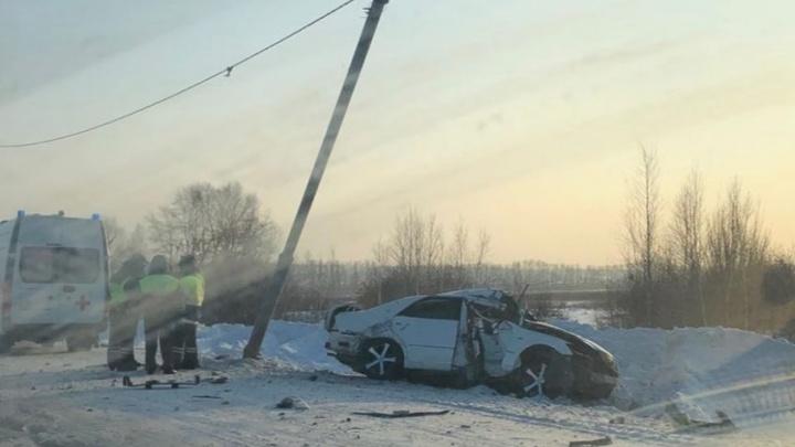 Под Новосибирском «Тойота» врезалась в столб