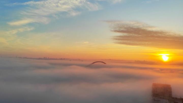 Густой туман окутал Новосибирск с утра — 7 атмосферных фото с улиц города