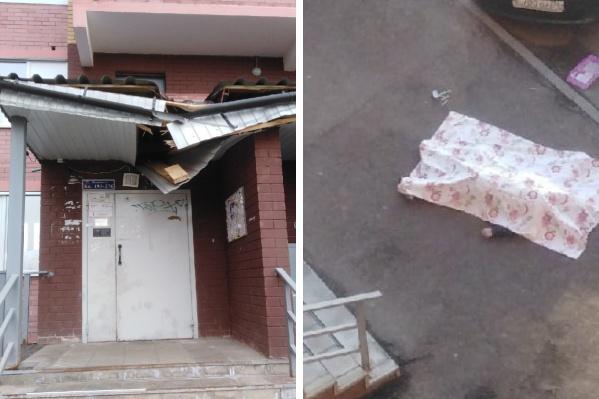 Упавший с 12-го этажа мужчина сломал козырек подъезда
