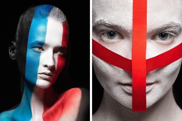 Слева — модель Вероника Щербина, справа — Маргарита Румянцева. В образе Германии (фото ниже) — Екатерина Торлопова