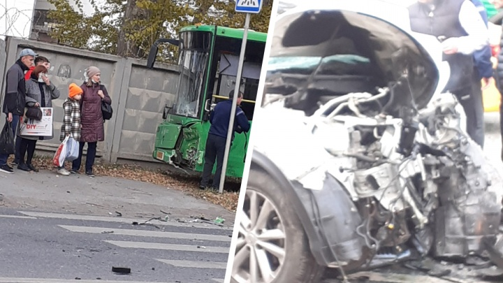 В Тюмени пенсионер на иномарке врезался в автобус и умер