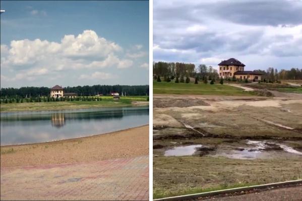 Дом Мислима Абасова в Емельяновском районе. Слева — до осушения пруда, справа — после