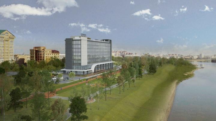 В Омске презентовали новый проект гостиницы Cosmos с кафе на крыше и козырьком в виде крыльев чайки