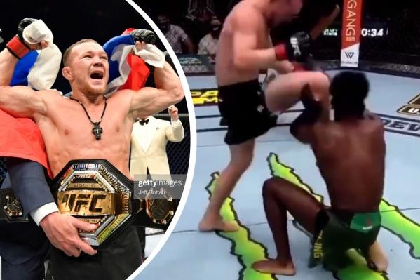 """Слева —&nbsp;Пётр Ян <nobr class=""""_"""">12 июля,</nobr> в момент получения пояса&nbsp;UFC. Справа — он же бьет соперника коленом в лицо<br>"""