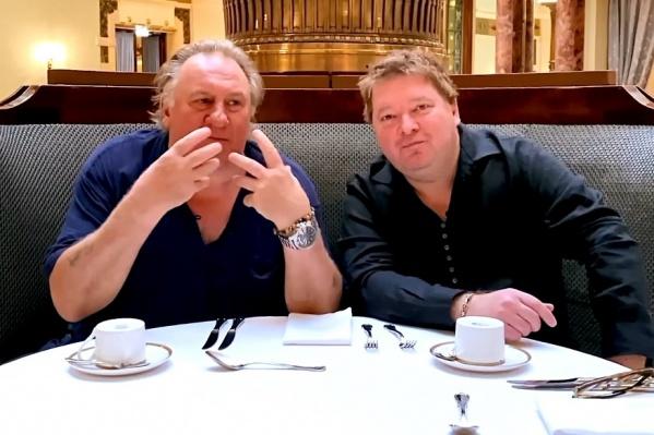 Жерар Депардье и Денис Иванов записали ролик в ресторане «Метрополь» в Москве