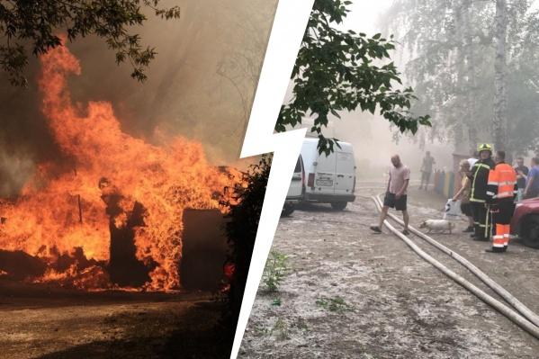Сначала разгорается пух и сухая трава, а затем огонь переходит на постройки