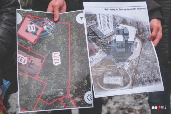 Слева указана территория, где планируют построить здание. Справа показано, как оно будет выглядеть