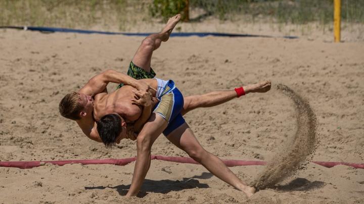 Новосибирцы устроили на пляже борьбу в 26-градусную жару — сильные фото полуобнаженных бойцов