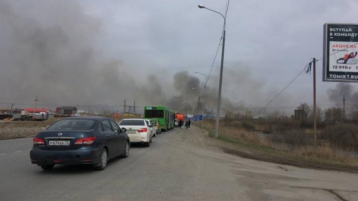 Сильное возгорание полей на окраине Тюмени парализовало дорожное движение. Онлайн с места событий
