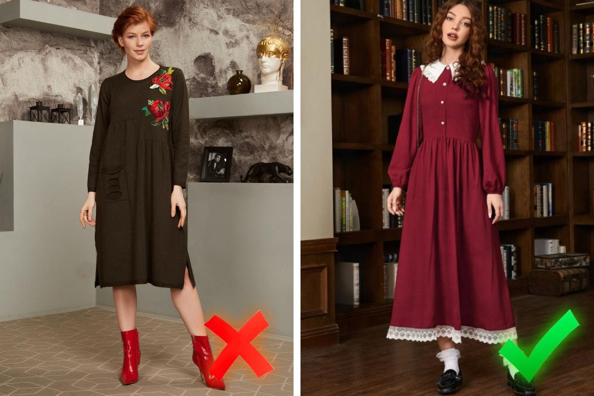 Выбирайте современный декор — на фото слева цветочная аппликация сильно старит образ, особенно в сочетании с неактуальным цветом и фасоном платья