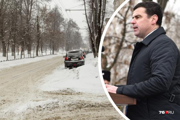 Губернатор ругается на уборку дорог в Ярославле уже не в первый раз