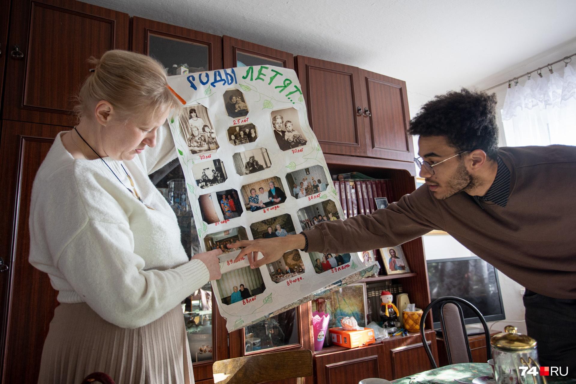 В этом доме трепетно относятся к семейной истории: вот, например, плакат, который бабушке Евгении готовили на 90-летие