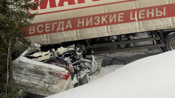 Под Серовом водитель легковушки при обгоне врезался в грузовик, перевозящий продукты