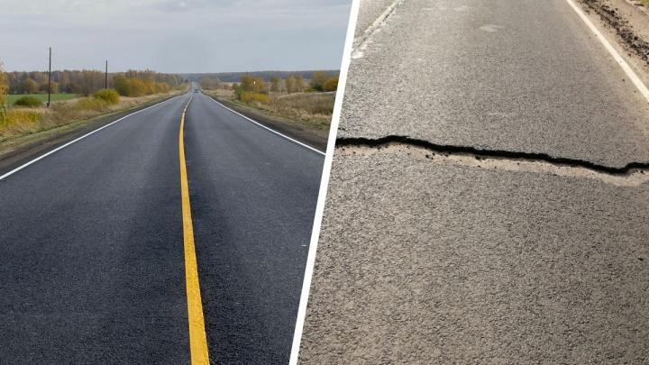 В Ярославской области дорога, отремонтированная по нацпроекту за368миллионов, трещит по швам. Фото