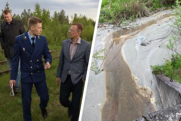 На проверку дренажной канавы выехал министр природных ресурсов Поморья Игорь Мураев