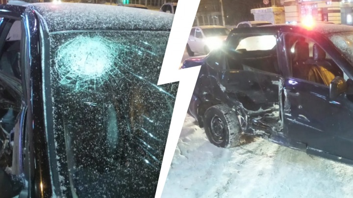 «Пассажирка головой разбила лобовое стекло»: на Космонавтов ChevroletAveo столкнулась с Lada Granta